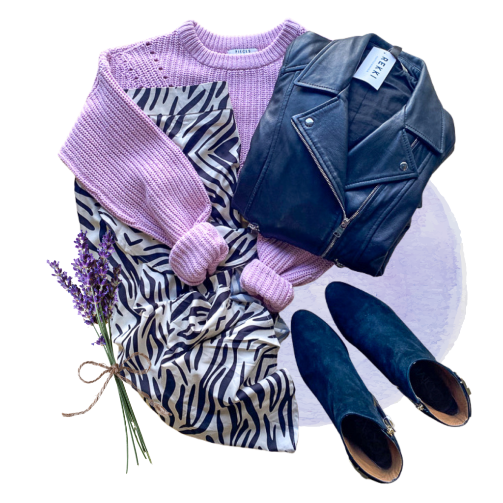 Black and lilac clothes assembled in round shape